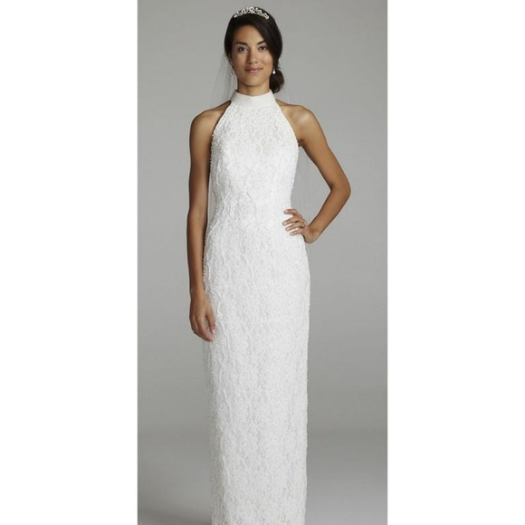 St. Tropez Dresses | Sale White Beaded Lace Halter Top Wedding Dress ...